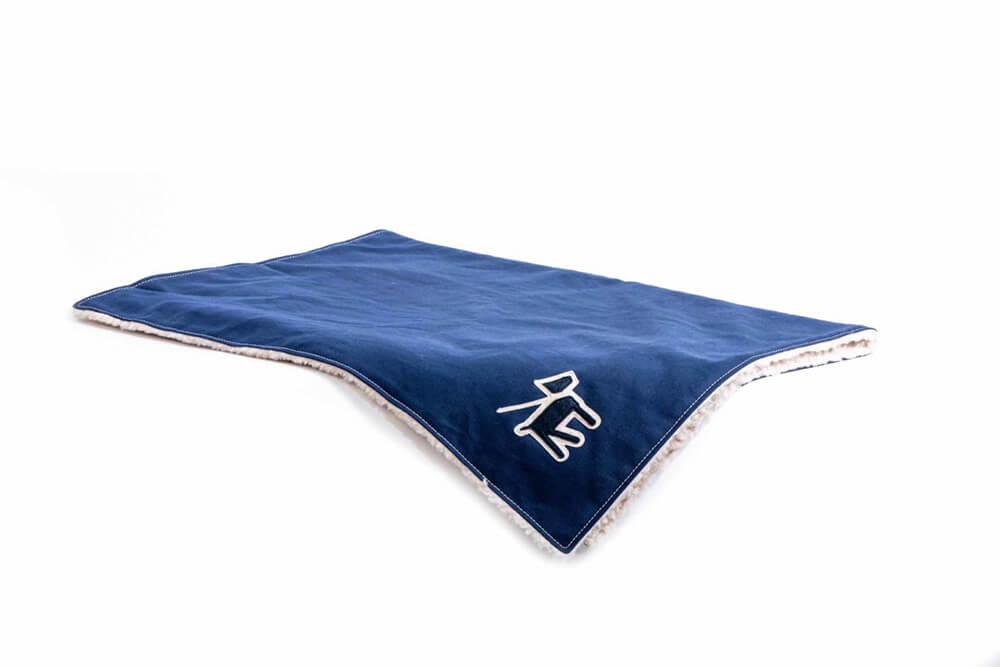 blue dog blanket by Wagwear showing fleece & canvas material